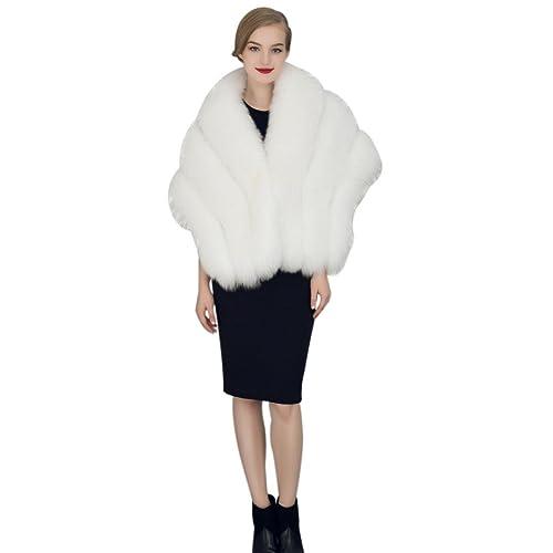 Koly Chaqueta de piel de visón sintética Piel sintética para novia,Vestido de Novia de moda,tipo bol...