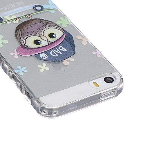 Ekakashop Coque pour Apple iphone 5/5s, Ultra Slim-Fit Flexible Souple Housse Etui Back Case Cas en Silicone pour iphone 5s, Soft Cristal Clair TPU Gel imprimée Couverture Bumper de Protection Extrême