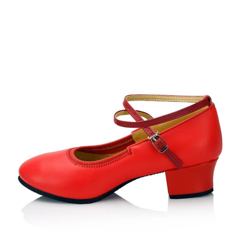 BYLE Leder Sandalen Riemchen Samba Modern Jazz Dance Schuhe Leder Tanz Schuh, Nach Weichen, Sommer Rot 3,5CM B07FZ4SMWB Tanzschuhe Nutzen Sie Materialien voll aus
