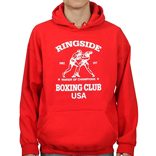 Boxer Adult Hooded Sweatshirt (Ringside Boxing Club USA Hoodie, Red, Medium)