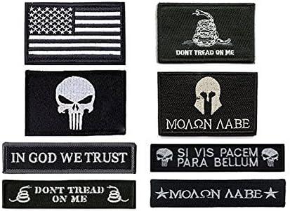 antrix 8 Pack gran valor negro Military Tactical moral parche de la bandera americana Castigador Molon Labe Dont tendencia en mí en Dios We Trust parches Set: Amazon.es: Juguetes y juegos