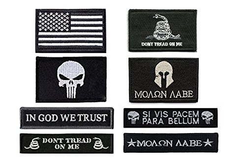 Antrix 8 Pack Great Value Black Military Tactical Morale Patch US Flag Punisher Molon Labe Dont Tread On Me in God We Trust Patches Set