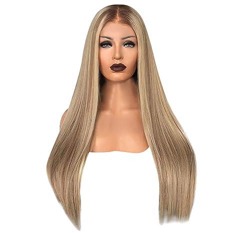 Perruque Blonde Femme feiXIANG Vrai Cheveux