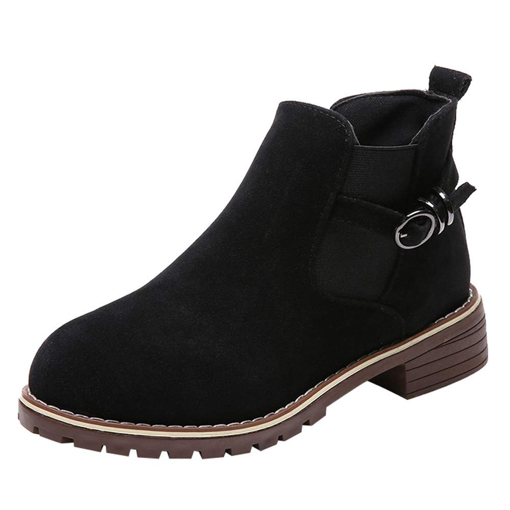 Clearance for Shoes,AIMTOPPY Women's Shoes Round Head Flat Suede Buckle Martin Ankle Boots