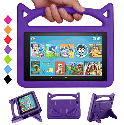 7 Tablet Case, Tablet 7 Kids Case - SHREBORN Kids Shock Proof Protective Cover with Handle Foldable Stand for 7 Inch Tablet (Compatible with 7th Generation 2017 & 5th Generation 2015) - Purple