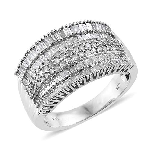 925 Sterling Silver Platinum Plated Diamond Baguette Bridal Anniversary Ring Size 10 Cttw 1.5 -