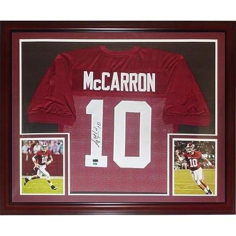 A.J. McCarron Autographed Alabama Crimson Tide (Maroon #10) Deluxe Framed Jersey - McCarron Holo - Deluxe Framed Jersey