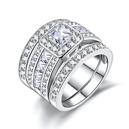 Princess Cut Wedding Rings Set - Square Cluster CZ Enhancer Guard 3pcs Halo Bridal Bands Size 6-9