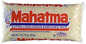 Mahatma Extra Long Grain Enriched Rice - Naturally Sodium Free & Fat Free - Net Wt. 16 OZ (454 g) Each - Pack of 3