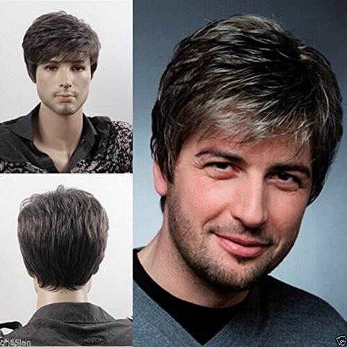 Price comparison product image Menoqi Men's Short Straight Layered Wig Side Swept Fringe Hairstyle Heat Resistant Wigs Human Hair Wigs Natural Looking Wigs with Wig Cap WIG079