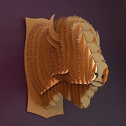 Cardboard Safari Recycled Cardboard Animal Taxidermy Bison Trophy Head, Billy Brown Medium