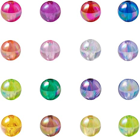 200pcs Solid Color Acrylic Spacer Beads Jewellery Flat Round Mixed Color 8mm