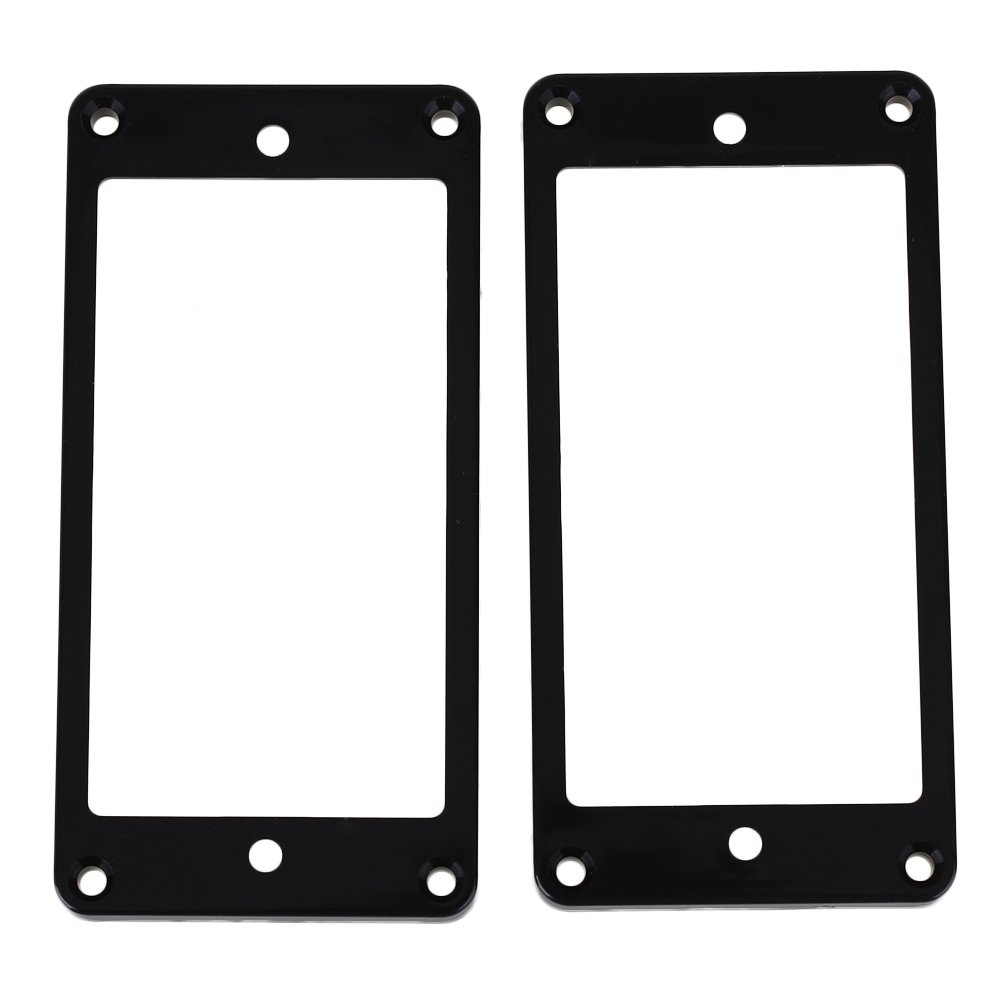 Yibuy Black 5/5 Electric Guitar Pickup Flat Frame Mounting Rings Cover Plate without Screws Set of 2