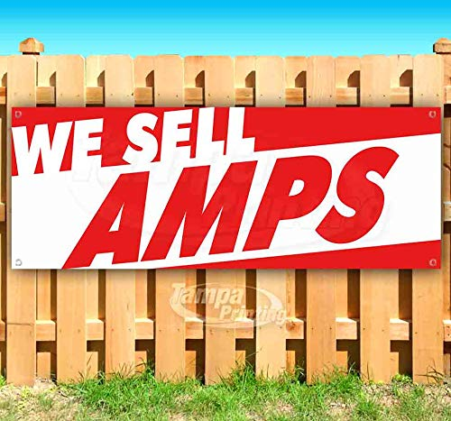 WE Sell AMPS 13 oz Heavy Duty Vinyl Banner Sign with Metal Grommets, New, Store, Advertising, Flag, (Many Sizes Available) ()