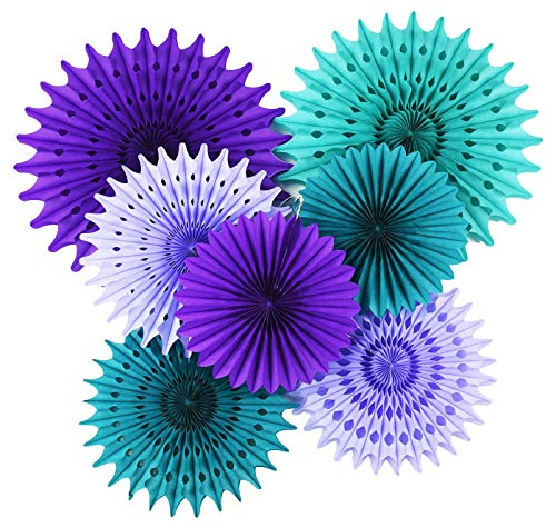 Mermaid Birthday Party Supplies/Under The Sea Party Supplies Teal Purple Lavender Tissue Paper Fan/Tissue Pom Pom Flower/Mermaid/Frozen Party Supplies Mermaid Decorations Baby Shower Decorations -