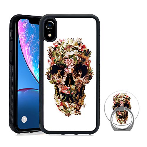 (Designed Jungle Skull iPhone XR Case Ring Holder Stand Rotatable Durable Ring Stand, TPU Rubber Case iPhone XR )