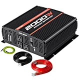 POTEK 2000W Power Inverter 3 AC Outlets 12V DC to 110V AC Car Inverter with 2A USB Port