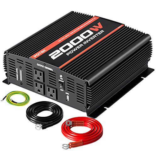 POTEK 2000W Power Inverter Three AC Outlets 12V DC to 110V A