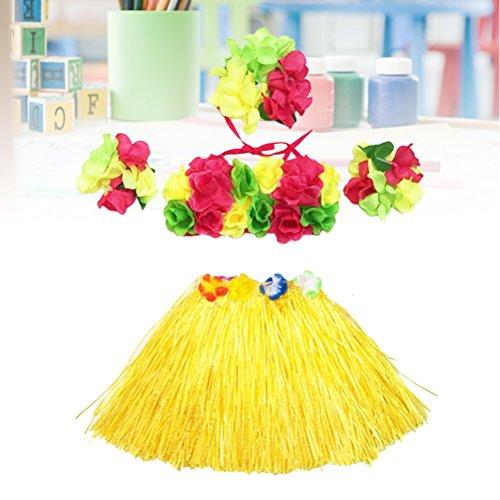 5Pcs Hawaii Tropical Hula Grass Dance Skirt Flower Bracelets Headband Bra Set 40cm (Yellow Skirt) by LUOEM (Image #8)