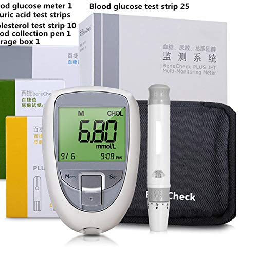3 in 1 Multi Function Uric Acid Diabetes Cholesterol Tester Meter System Blood Sugar Glucose Test Strips Lancets Free