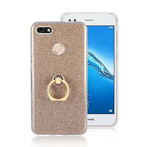 SRY-Conjuntos de teléfonos móviles de Huawei Con una caja suave de la contraportada TPU de la manera de la hebilla del anillo para Huawei Changxiang Disfrute de 7 Proteja completamente el teléfono ( C Gold