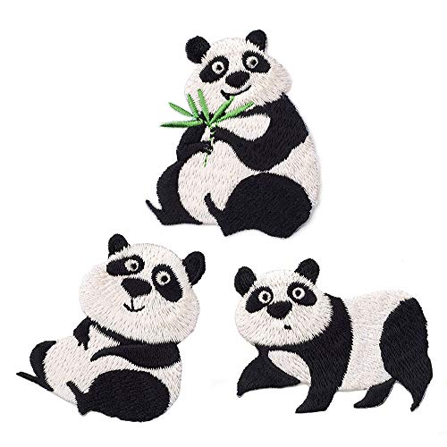 3 Pcs Cute Panda Delicate Embroidered Patches, Cute Embroidery Patches, Iron On Patches, Sew On Applique Patch,Cool Patches for Men, Women, Kids