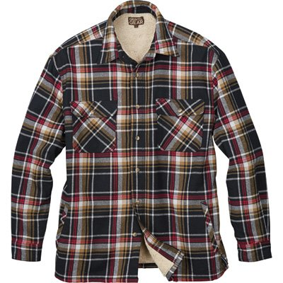 Gravel Gear Sherpa Lined Flannel Shirt Jacket - Black/Red, Large (Sherpa Lined Shirt)