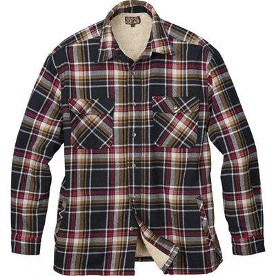 Gravel Gear Sherpa Lined Flannel Shirt Jacket - Black/Red, XL