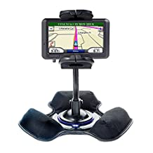 Two in One Non-Slip Weighted Dashboard Mount and Flexible Windshield Suction Mount for Garmin Nuvi 770 Keep Devices Secure in Any Car / Truck
