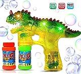 Haktoys Jurassic Dinosaur Bubble Gun Shooter Light Up Blower | Toy Bubble Blaster for Toddlers