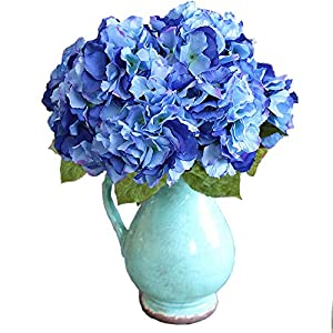 Duosuny Artificial Silk Fake 5 Heads Flower Bunch Bouquet Home Hotel Wedding Party Garden Floral Decor Hydrangea 1