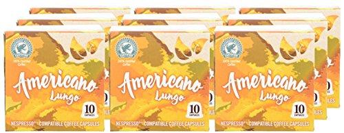 Percol Espresso Coffee Capsules Nespresso Compatible Americano Lungo Compostable (Pack of 9, Total 90 Capsules)