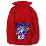 Personalized Drawstring Santa Sack Red Cool Galaxy Cheetah Animal Christmas Gift Bag Party Favor Bags For X-mas Size 13.8'' X 17.7''