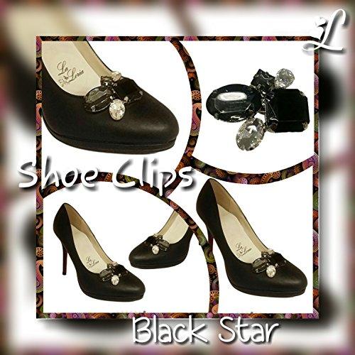 La Loria Damen 2 Schuhclips Black Star Schmuck-Accessoires für Schuhe Schwarz Grau