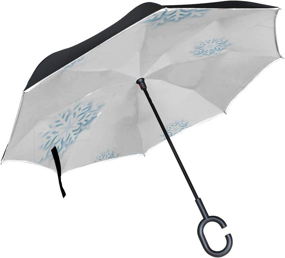 Double Layer Inverted Inverted Umbrella Is Light And Sturdy Snowflakes Design Winter Place Text Space Reverse Umbrella And Windproof Umbrella Edge Ni