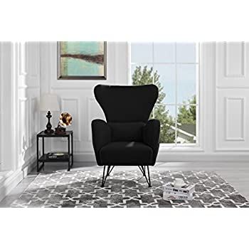 Mid-Century Modern Velvet Accent Armchair with Shelter Style Living Room Chair (Black)