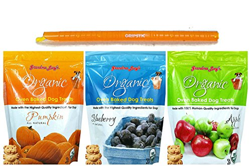 Grandma Lucy's Organic Oven Baked Dog Treats in 3 Flavors - Apple, Blueberry & Pumpkin - 3 Bags Total, 14 Ounces Each - Plus 9-Inch Gripstic Bag Sealing Rod - 4 Items Total