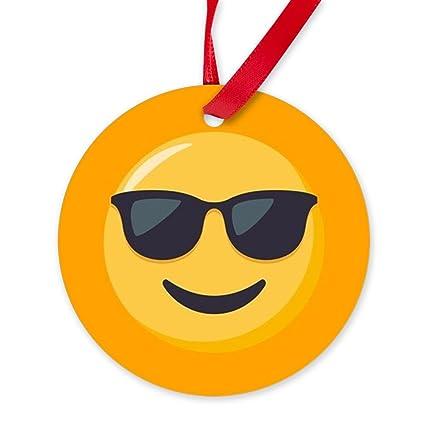 Adorno de Navidad CafePress - Gafas de sol Emoji - redondo ...