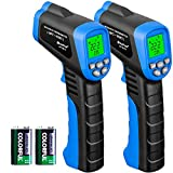 HOLDPEAK Infrared Thermometer, HP-981C Advanced Non-Contact -58~1022℉ (-50~550℃) Digital Temperature Gun with Battery Monitoring Adjustable Emissivity for Cooking & Brewing (2Pack)