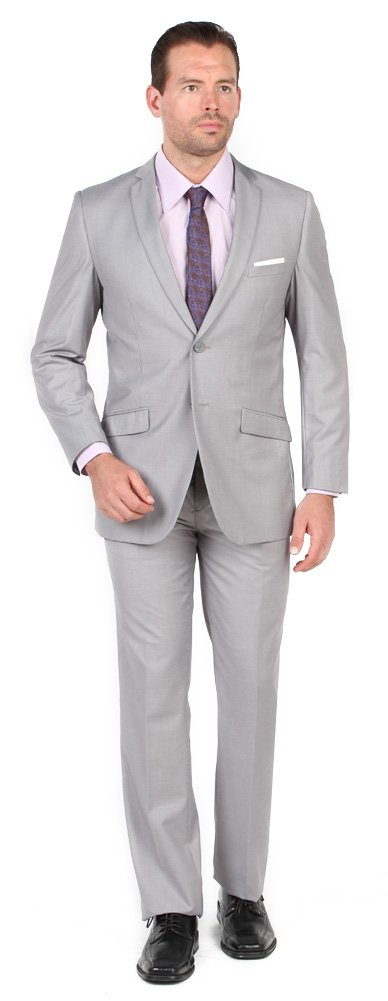 Tazio Mens 2 Button 2 Piece Slim Fit Suit Light Grey 34S by TAZIO