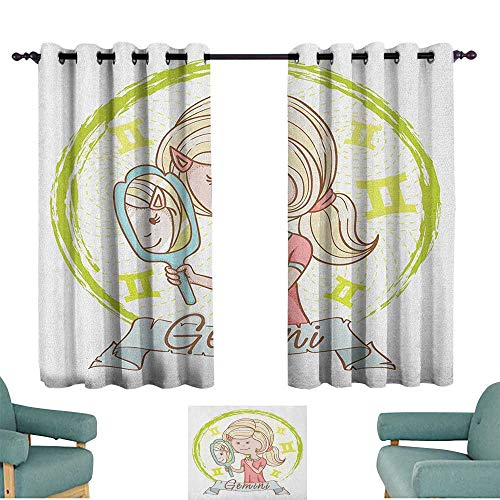 ParadiseDecor Zodiac Gemini,Room Darkening Curtain Cartoon Style Little Girl with a Mirror and Reflection Twins Concept for Kids 100