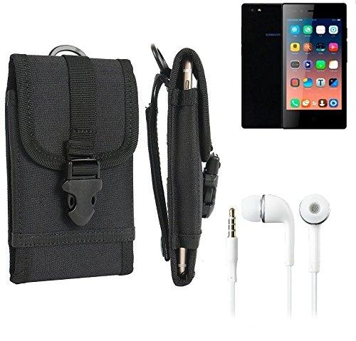 bolsa del cinturón / funda para Siswoo A4+, negro + Auriculares | caja del teléfono cubierta protectora bolso - K-S-Trade (TM)