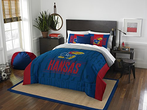 (The Northwest Company Officially Licensed NCAA Kansas Jayhawks Modern Take Full/Queen Comforter and 2 Sham Set)