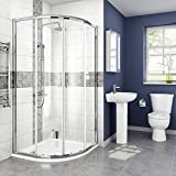 iBathUK 900 x 900 mm Designer Quadrant Sliding Door Shower Enclosure + Stone Tray