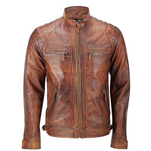 Men's Leather Jacket Motorcycle Bomber Biker Real Lambskin Leather Distress Brown Vintage Jacket for Men