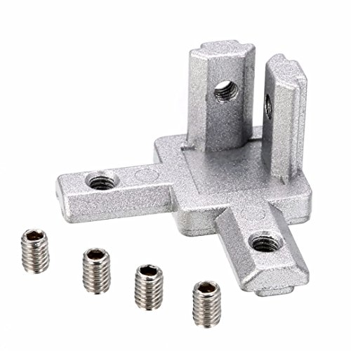 Aluminum 3 Way - PZRT 4-Pack 2020 Series 3-Way End Corner Bracket Connector, with Screws for Standard 6mm T Slot Aluminum Extrusion Profile