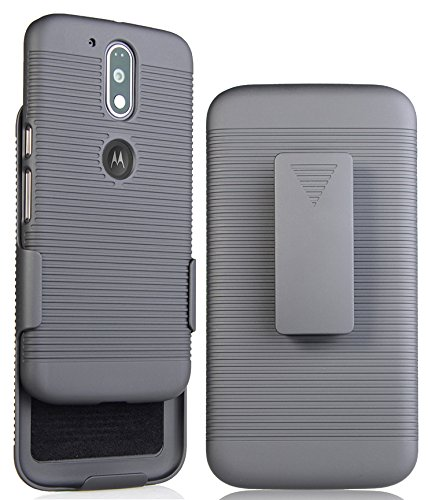 Price comparison product image MOTO G4 PLUS CLIP CASE HOLSTER, NAKEDCELLPHONE'S BLACK RIBBED HARD CASE COVER + BELT CLIP HOLSTER STAND FOR MOTOROLA MOTO G4, G4 PLUS, MOTO G 4th GENERATION (XT1622 XT1625 XT1644 XT1641 XT1642 XT1644)