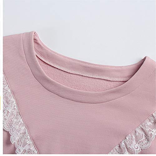 Cotone Lunghe Stampapigiama In Color nbsp; Pantaloni Maniche Con Notte E nbsp;camicia Meaeo Pizzo Photo Eleganti Vita Da wqX8xn1O