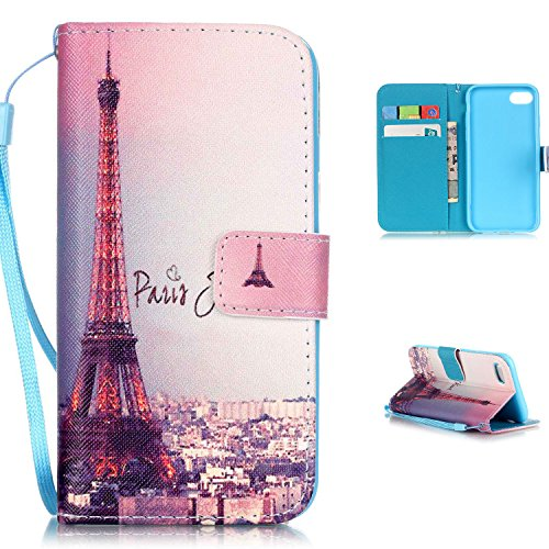 Lh Shock Tower - iPhone 7 Plus Case,iPhone 7 Plus Wallet Case,LW-Shop PU Leather Case [Built-in Credit Card Slots] Magnetic Design Holders Flip Stand Folio Leather Cover Case with Eiffel Tower Pattern