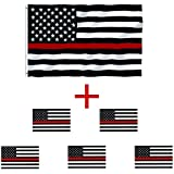 Firefighter Thin Red Line Flag 3 x 5 Foot Polyester Flag With Grommets-Includes 5 Thin Red Line 3 x 5 Inch Stickers As a Bonus